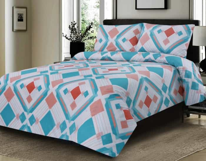 Bright Blue with Red and White Color Bed Sheet For Summer