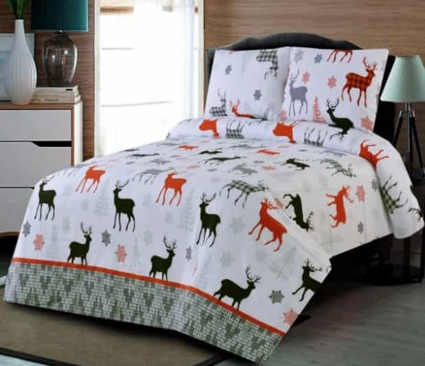 Deer Print Colorful Bed Sheet For Summer