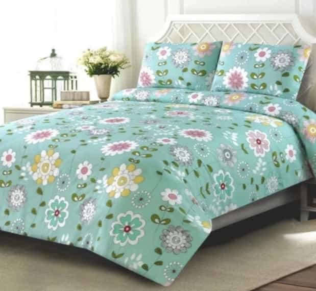 Flowery Design Green Bed Sheet For Summer