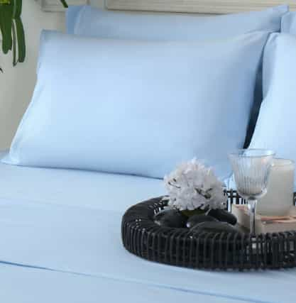 Plain Blue Color Bed Sheets for Summer